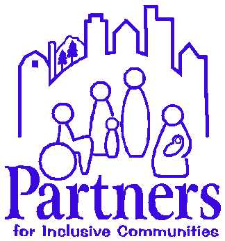 This image is a logo on a white background with a purple image of people in front of buildings above the words Partners for Inclusive Communities in purple